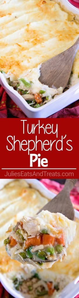 Turkey Shepherd's Pie ~ The Perfect Casserole to use up Leftover Turkey and Vegetables from the Holidays! Peas, Carrots and Beans with Gravy then Piled with Mashed Potatoes and Topped with Parmesan Cheese!