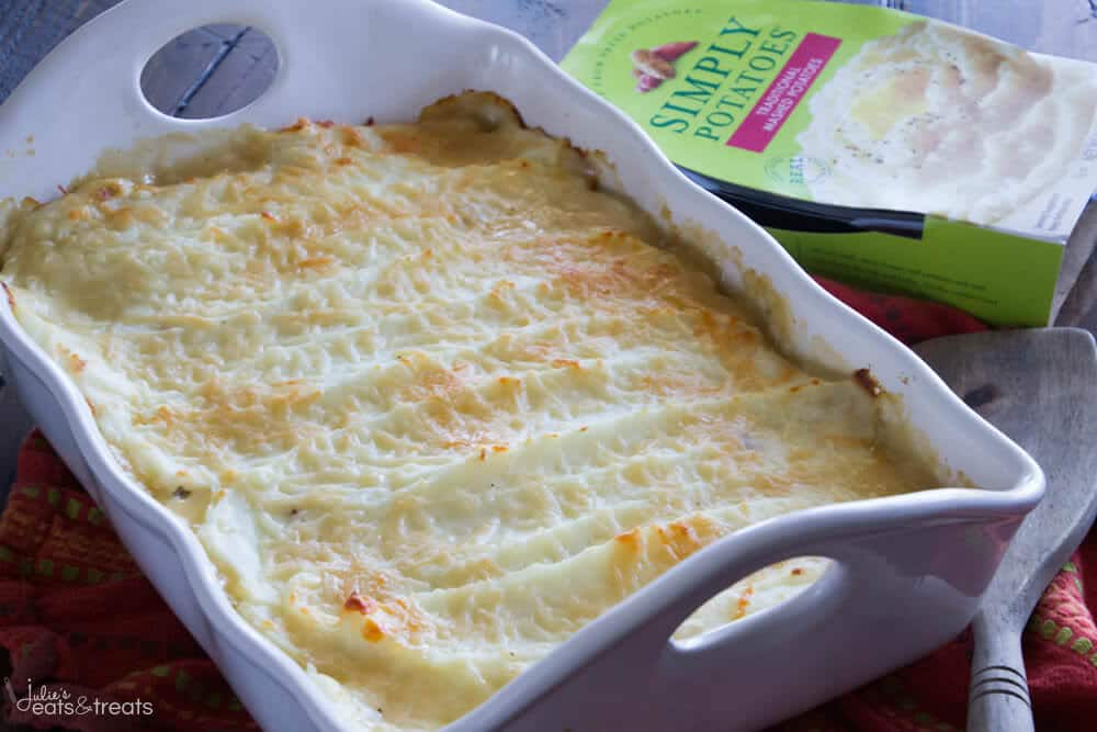 White baking dish with turkey shepherd's pie in it