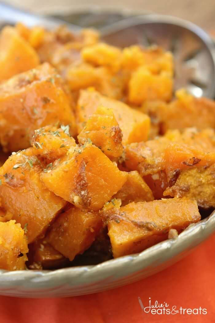 Parmesan Crock Pot Sweet Potatoes ~ Perfect Easy, Quick Weeknight Side Dish or Holiday Side Dish in Your Slow Cooker! Packed Full of Garlic and Parmesan Flavor!