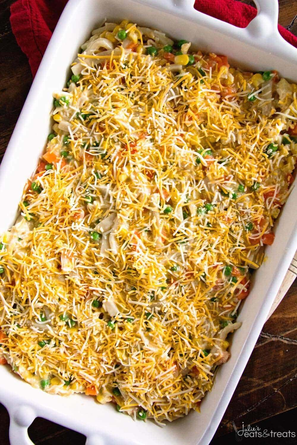Cheesy Chicken Noodle Casserole ~ Easy, Hearty and Comforting Casserole Loaded with Chicken, Peas, Carrots, Corn and Egg Noodles! This Will Become a Family Favorite Dinner!