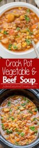 Crock Pot Beef & Vegetable Soup ~ Easy to make, loaded with hearty vegetables & delicious beef. This is one crock pot soup you must make this winter.