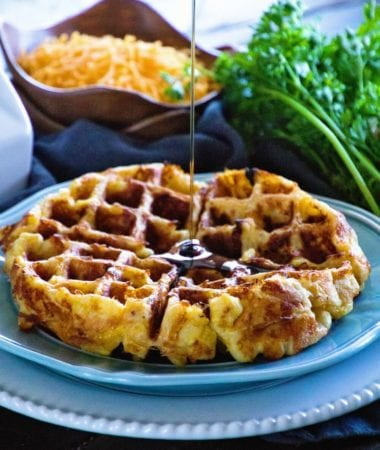 Loaded Egg Bacon Cheese Waffles ~ The Ultimate Sweet & Savory Waffle! Eat this Comfort Food for Breakfast or Dinner Whichever You'd Like!