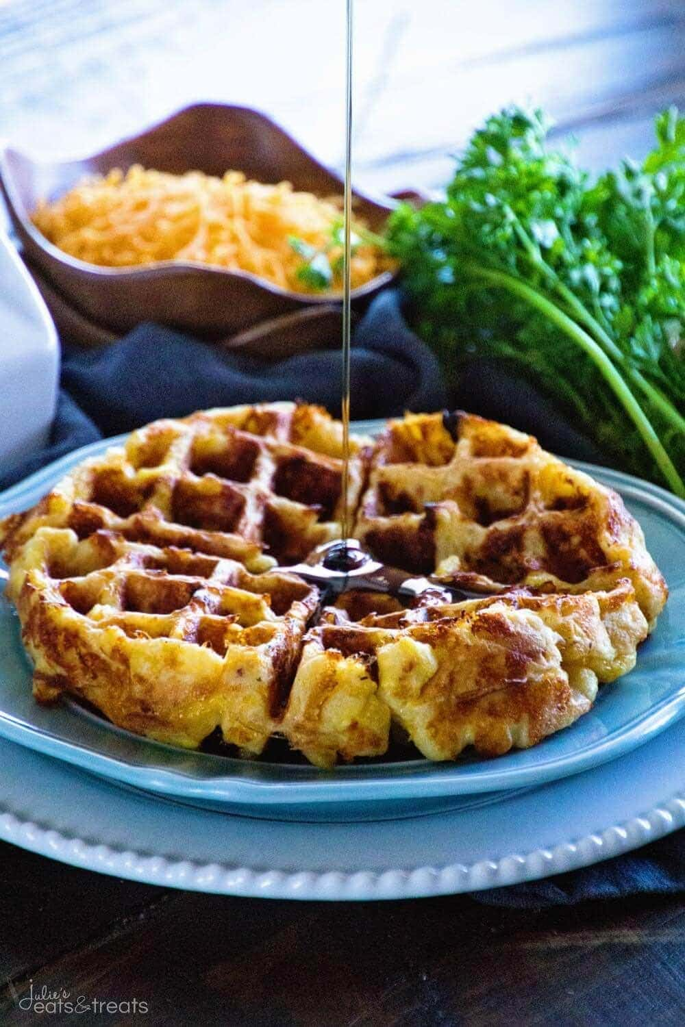 Loaded Egg Bacon Cheese Waffles