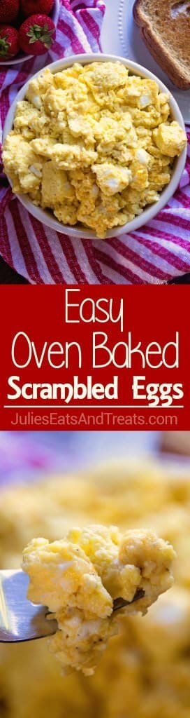 Easy Oven Baked Scrambled Eggs ~ Light, Fluffy, Perfect Scrambled Eggs with Cheese! Baked to Perfection in Your Oven!
