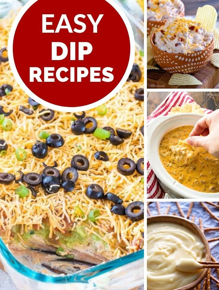 Four images of dips with a red circle and text reading easy dip recipes