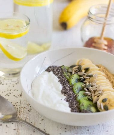 Super Healthy Breakfast Bowl ~ Start off your day with this nutritious meal ready in less than 5 minutes. An easy breakfast with yogurt, fruits and seeds. ~ https://www.julieseatsandtreats.com