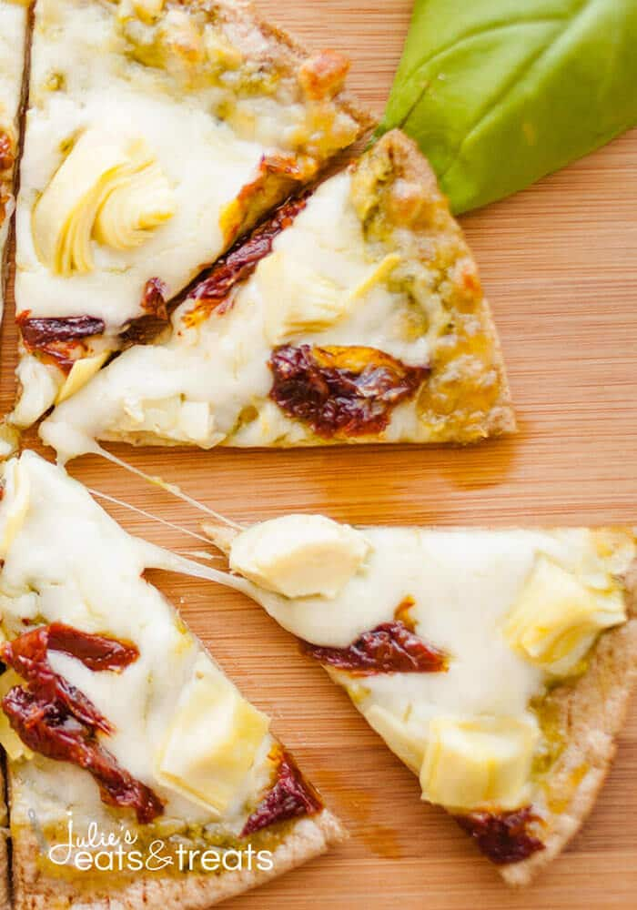 Sun-dried Tomato and Artichoke Pita Pizza. Whip up this personal pizza and have a hot, delicious lunch ready in no time at all!