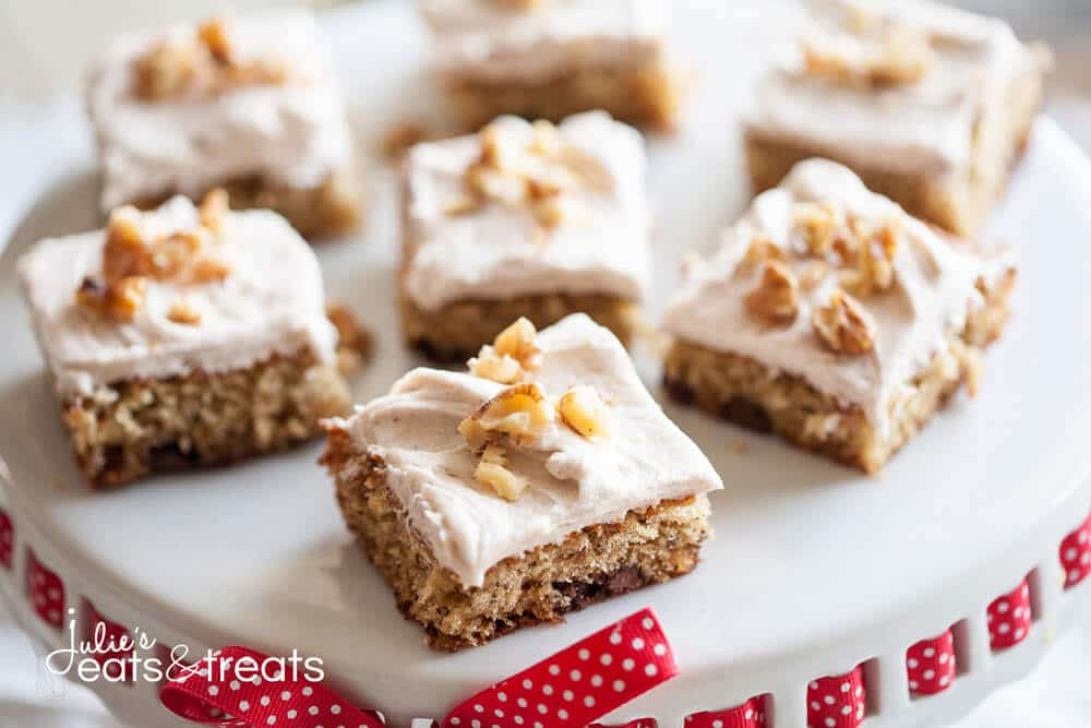 Banana Nut Bars with Cinnamon Cream Cheese Frosting. The perfect way to use up ripe bananas, and so easy to make!