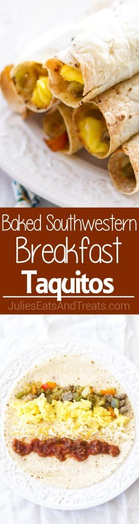 Baked Southwestern Breakfast Taquitos ~ Full of Scrambled Eggs, Sausage, Potatoes, Green Chiles, Peppers, Cheese and Salsa! Easy Breakfast Recipe Will Be a New Favorite!
