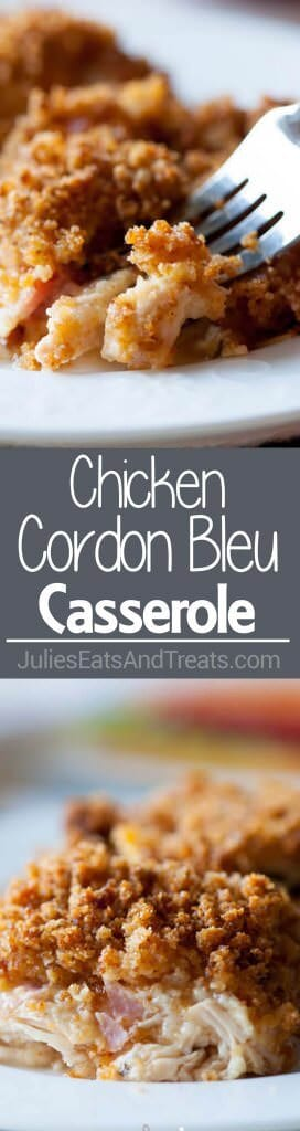 Chicken Cordon Bleu Casserole ~ Comforting Casserole with Layers of Chicken, Ham and Cheese with a Creamy, Cheesy White Sauce! Perfect Dinner Casserole!