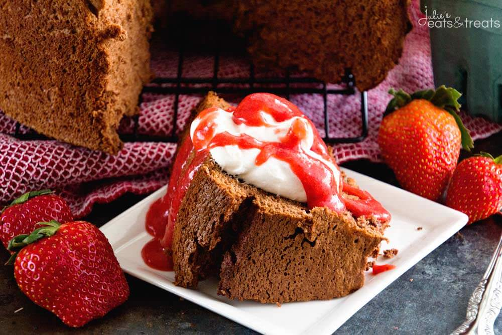 Chocolate Angel Food Cake with Strawberry Sauce ~ Homemade Chocolate Angel Food Cake That Starts with a Boxed Mix! Topped with Homemade Strawberry Sauce! The Perfect Light Dessert Plus it's Easy!