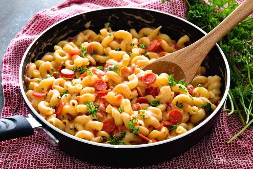 Pizza Pasta Recipe prepared and sitting in skillet