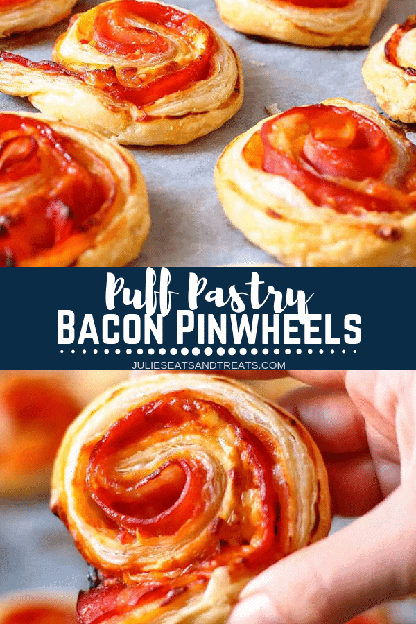 Collage with top image of bacon pinwheels on wax paper, middle banner with text reading puff pastry bacon pinwheels, and bottom image of a hand holding a pinwheel