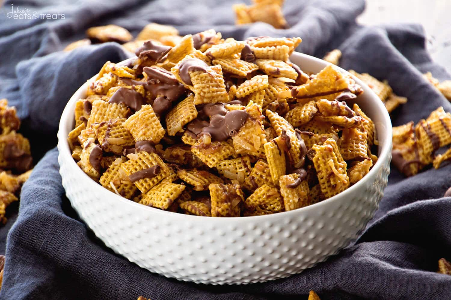 Samoa Chex Mix ~ Easy Snack Mix Loaded with Toasted Coconut, Chocolate ...