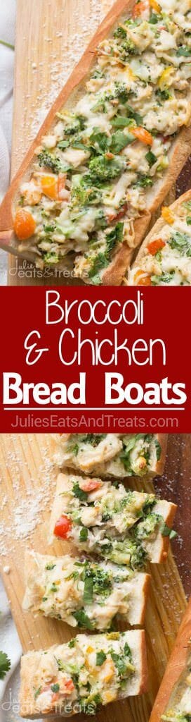 Broccoli and Chicken Bread Boats ~ Toasted Bread Loaded with Broccoli, Chicken and Cheese with a Light Hot Sauce! The Perfect Easy Dinner Recipe!
