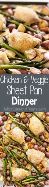 Simple Chicken and Vegetable Sheet Pan Dinner ~ Quick and Easy Dinner Recipe! Crispy-Skinned Chicken Thighs, Tender Potatoes and Asparagus!