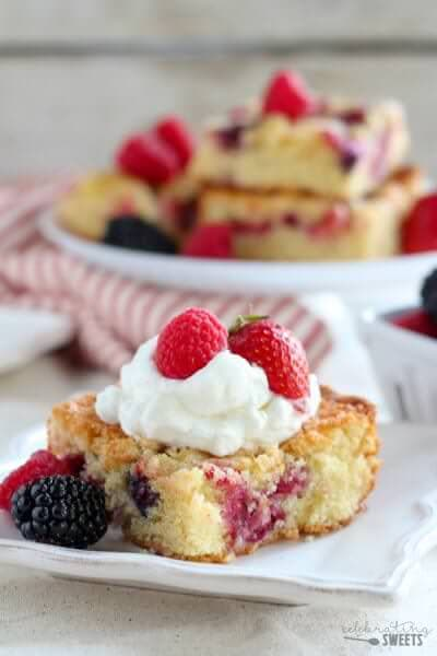 Easy Mixed Berry Cake from Celebrating Sweets