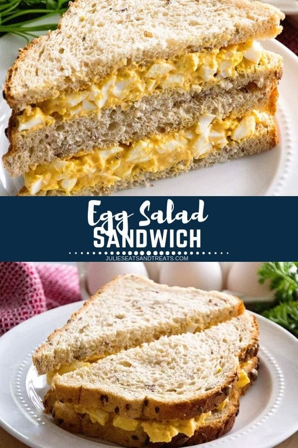 Collage with top image of an egg salad sandwich cut in half diagonally and stacked on a white plate, middle navy banner with white text reading egg salad sandwich, and bottom image of a sandwich cut in half on a white plate