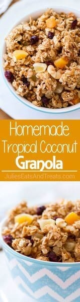 Homemade Tropical Coconut Granola ~ Homemade Granola Loaded with Dried Pineapple, Apricots, Golden Raisins, Cranberries, Shredded Coconut and Macadamia Nuts!