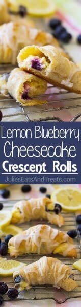 Lemon Blueberry Cheesecake Crescent Rolls ~ Filled a with Creamy, Sweet and Tangy Lemon Filling and Bursting with Fresh Blueberries! Perfect for Dessert, Breakfast or Brunch!