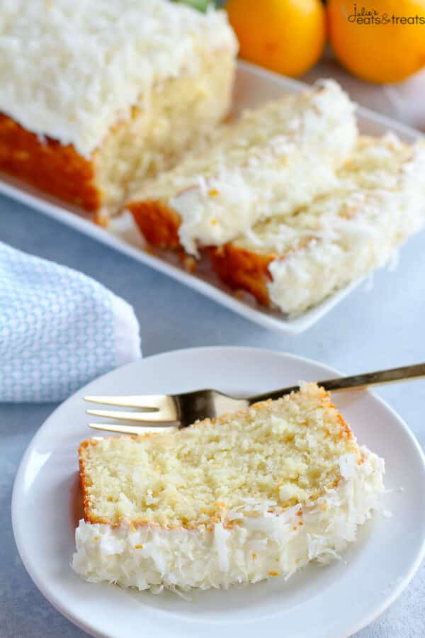 Slice of Lemon Coconut Cake on plate