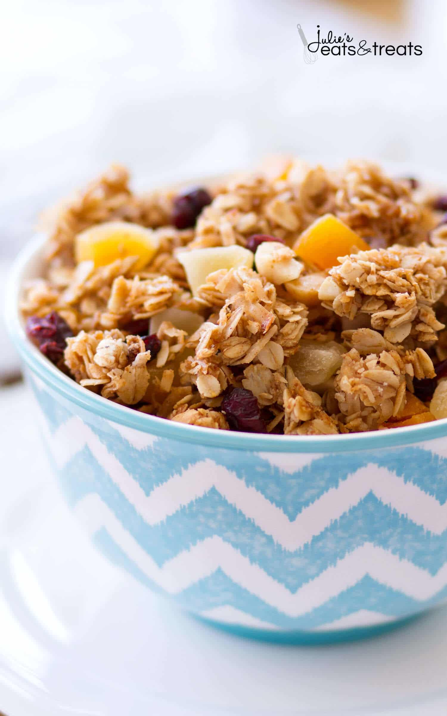 This homemade Tropical Coconut Granola is filled with shredded coconut, coconut oil, and coconut sugar! Dried pineapple, apricots, golden raisins, cranberries, and macadamia nuts give this easy coconut granola a tropical flavor. This homemade granola recipe is so easy, you may never buy store-bought again!