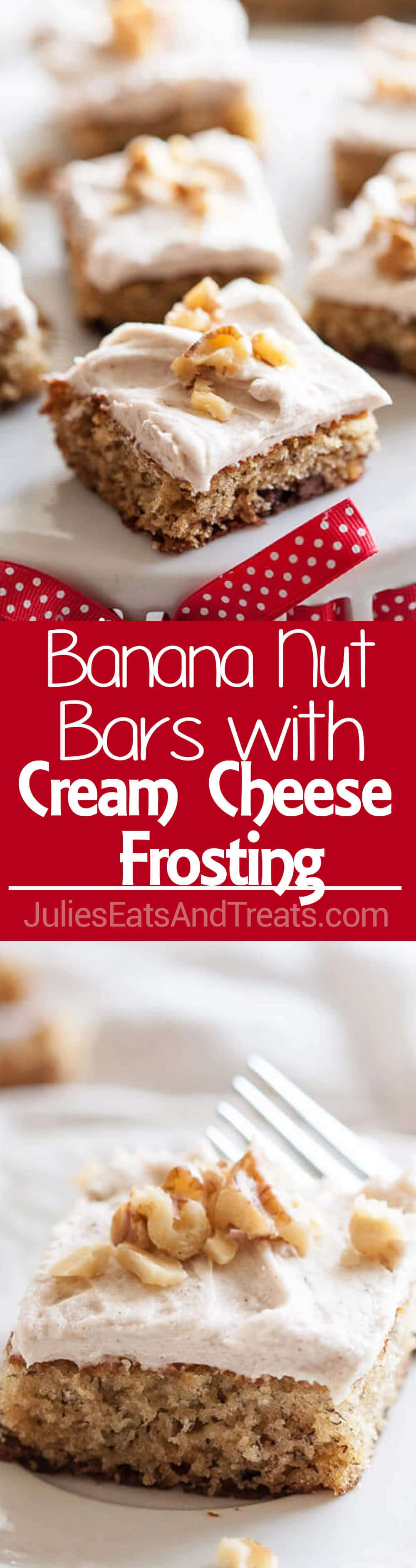Banana Nut Bars with Cinnamon Cream Cheese Frosting ~ Fluffy, Delicious Banana Bars Loaded with Walnuts and Topped with Cream Cheese Frosting with a Hint of Cinnamon!