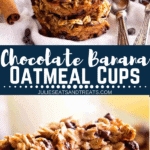 Collage with top image of oatmeal cups stacked on a white napkin, middle banner with text reading Chocolate banana oatmeal cups, and bottom image of hand holding an oatmeal cup with a bite taken out
