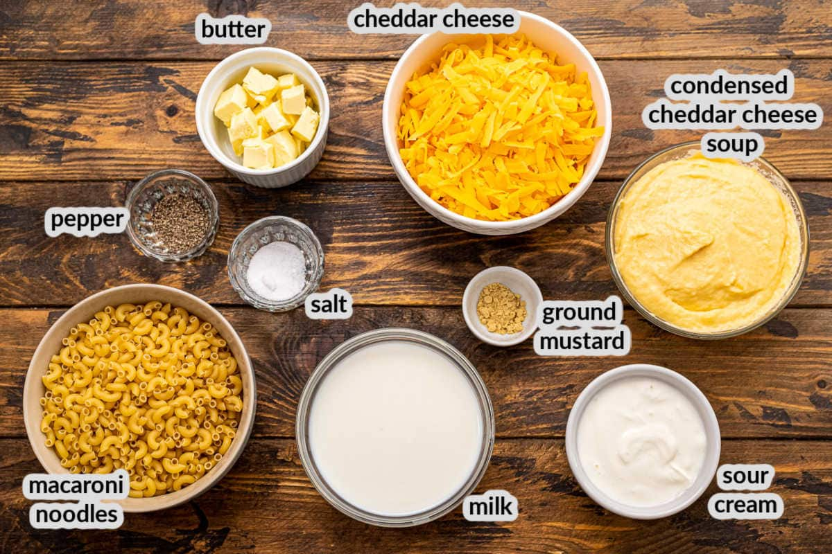Crock Pot Mac and Cheese Ingredients in bowls