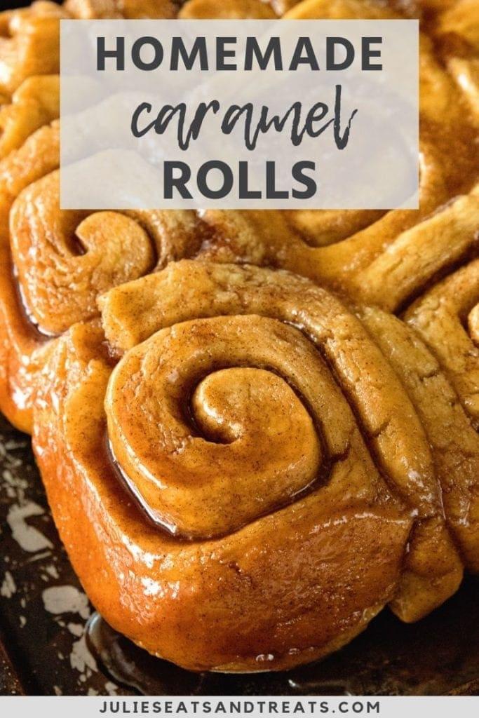 Caramel rolls on a baking sheet