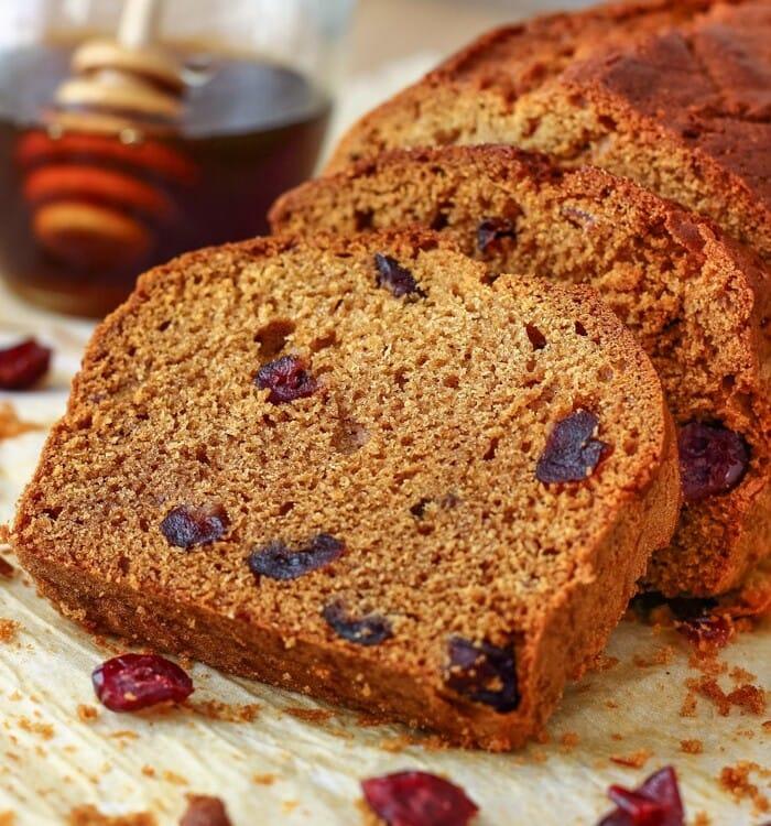Sliced honey cranberry bread