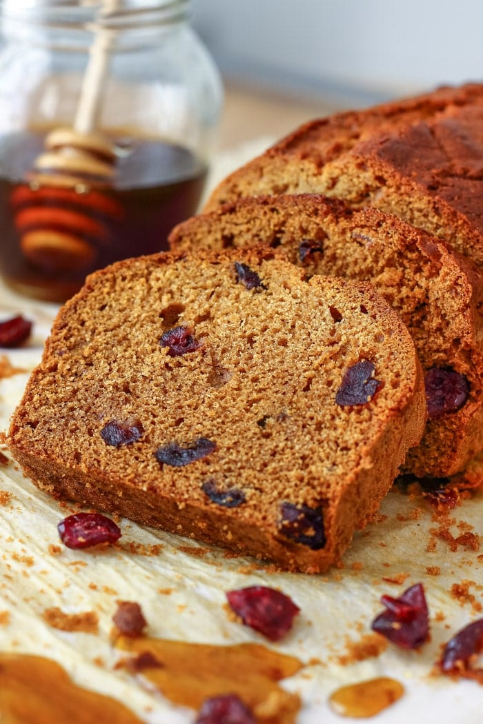 Honey Cranberry Bread. This delicious bread is perfect for breakfast, brunch or afternoon snack. Spread it with butter and jam and you are in for a treat!