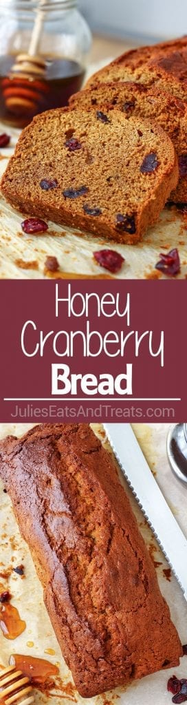 Honey Cranberry Bread ~ This delicious bread is perfect for breakfast, brunch or afternoon snack. Spread it with butter and jam and you are in for a treat!