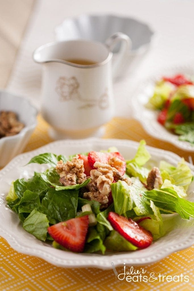 romaine lettuce, strawberries, green onions and some candied walnuts