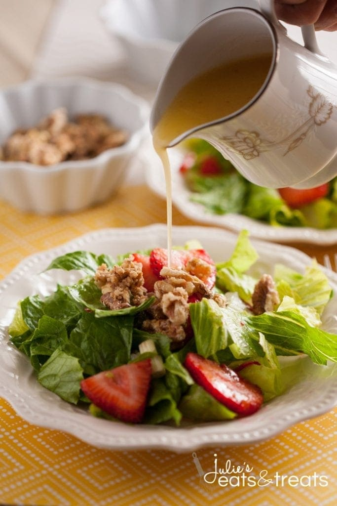 Strawberry Romaine Salad with the most delicious Italian orange dressing! This is your new favorite salad!