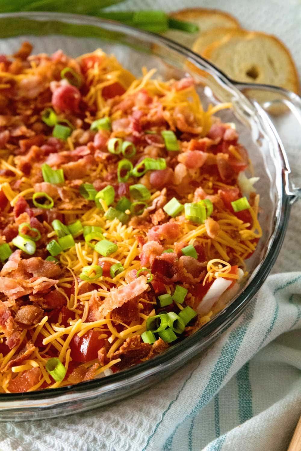 Easy BLT Dip in glass pie plate