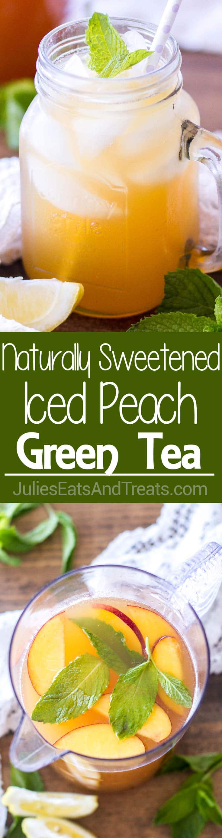 Iced Peach Green Tea ~ This naturally sweetened and the perfect drink for summer! Only 4-ingredients stand between you and this pretty little homemade iced tea!