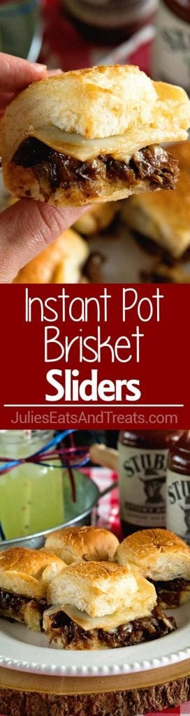 It's true image collage of instant pot brisket sliders with the top image being a hand holding a slider in the bottom image is for sliders on a white plate and in the middle is a red background with the words instant pot brisket sliders and white lettering