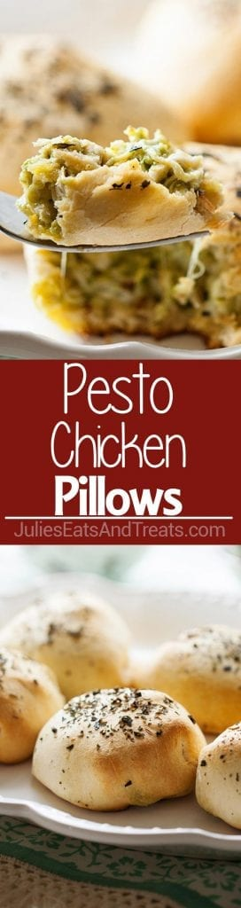 Collage with top image of a bite of pesto chicken on a fork, middle red banner with white text reading pesto chicken pillows and bottom image of five pesto chicken pillows on a white plate