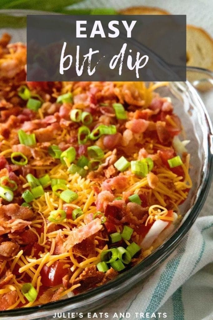 Easy blt dip in a glass pie plate