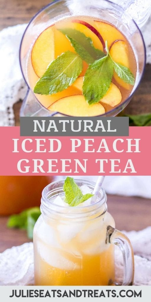 Pin Image for Iced Peach Green Tea with an overhead image of pitcher of tea on top, text overlay in the middle and bottom picture of a glass of tea.