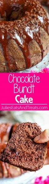 Chocolate Bundt Cake ~ Wow your guests with this pretty and easy homemade chocolate cake! It's covered with chocolate glaze, chocolate shavings and has chocolate pieces inside!