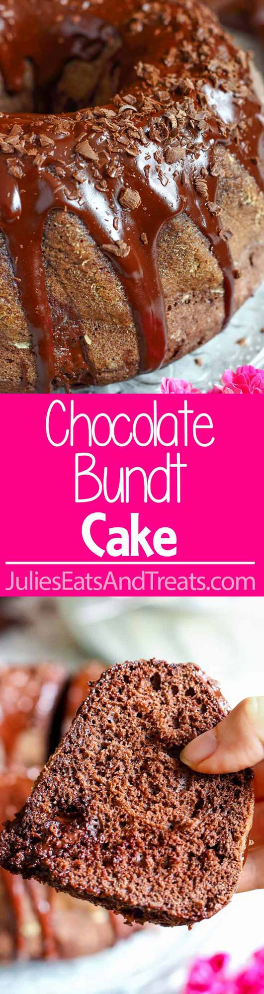 Chocolate Bundt Cake ~Wow your guests with this pretty and easy homemade chocolate cake! It's covered with chocolate glaze, chocolate shavings and has chocolate pieces inside!