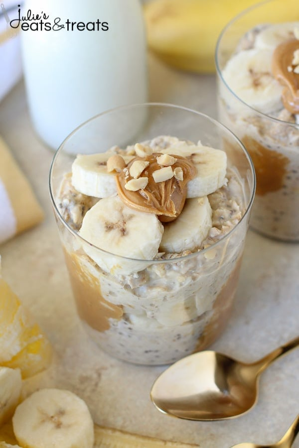 Peanut Butter Banana Overnight Oats Recipe in glass container