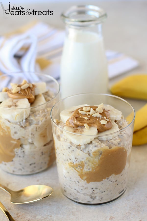 Peanut Butter Banana Overnight Oats in glass cup