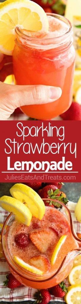 two picture collage of sparkling strawberry lemonade with the top picture being a hand holding a mason jar full of sparkling strawberry lemonade with a lemon slice and the bottom picture is a clear pitcher with sparkling strawberry lemonade with two lemon slices and in the middle is a red background with the words sparkling strawberry lemonade in white lettering