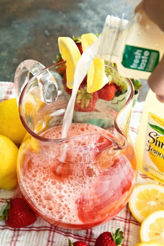 Sparkling Strawberry Lemonade ~ Quick, Easy, Refreshing Lemonade for those Hot Summer Nights! Only 3 Ingredients and You Will Be Sipping this Amazing Strawberry Lemonade!
