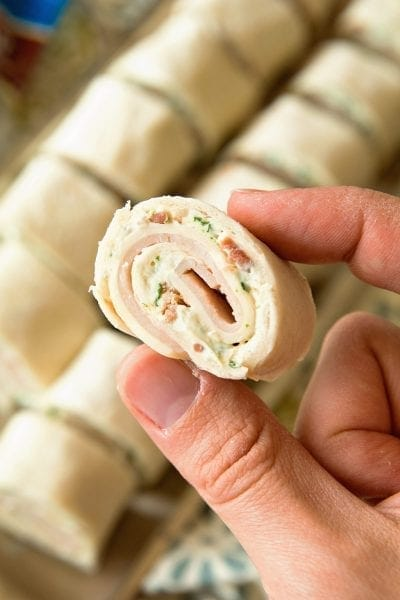Cheesy Turkey Bacon Ranch Pinwheels ~ Perfect for Your Lunchbox! Tortillas Loaded with Turkey, Bacon, Ranch and Cheese! Also, Make a Great Appetizer for Your Parties!