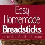 Easy Homemade Breadsticks ~ On Your Table in as Little as an Hour! Just a Single Rise in the Pan is all it Takes for these Fluffy, Delicious Homemade Breadsticks!