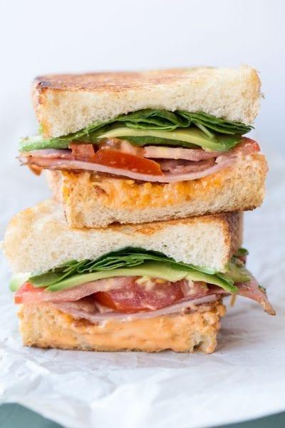 Avocado, tomato, chipotle sandwich recipe.